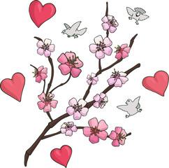 Set with pink sakura branch birds and hearts