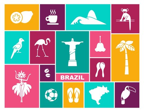 Brazilian icons. Vector illustration in flat style