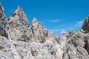 "Misurina, Cadini mountains, Dolomites, province of Belluno, Veneto, Italy. Mountaineers on the mountain trail ""Durissini"""