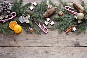 Christmas background with traditional sweets and festive decoration. Overhead view, copy space