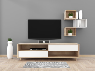 TV on cabinet in modern living room on gray wall background,3d rendering
