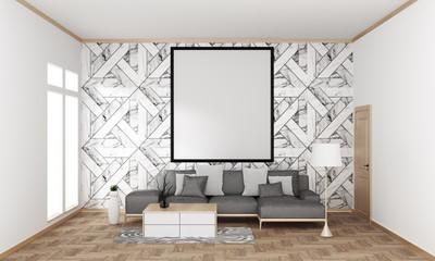 mock up poster frame in hipster interior Japanese modern living room granite tile wall on wooden floor, 3D rendering