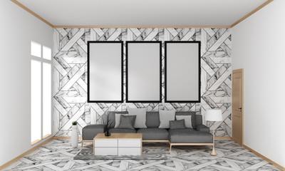 mock up poster frame in hipster interior Japanese modern living room granite tile wall on granite floor, 3D rendering