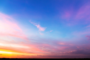 colorful sky with clouds at sunset time Wall mural