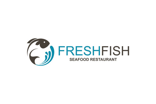 abstract fish icon for restaurant menu design isolated on white background