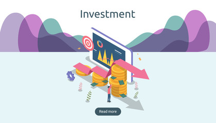 management or return on investment concept. online business strategic for financial analysis. isometric design vector illustration. template for web landing page, banner, presentation, social media.