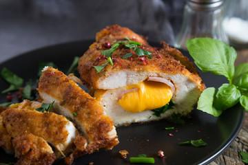 Chicken cordon bleu. Chicken roll with ham and cheese