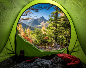 Wall Mural - View from tent to Tatra mountains in autumn at sunrise