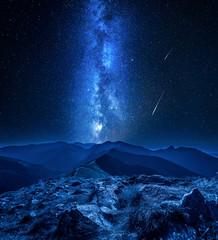 Stunning milky way over Tatra mountains at night, Poland