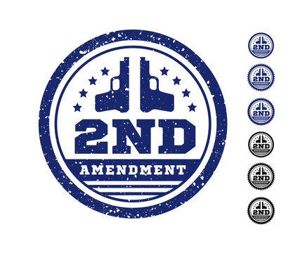 Second Amendment to the US Constitution on the authorization to bear arms. Stamp, seal. illustration
