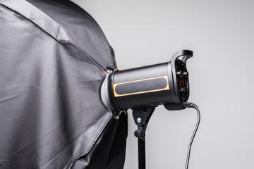 Photo studio flash lighting equipment isolated on white background