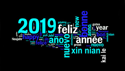 2019 greeting card on black background, new year translated in many languages
