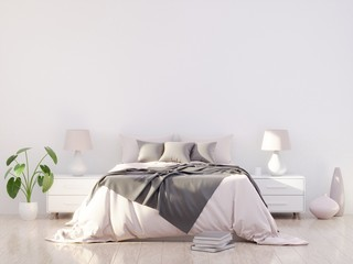 Bright and cozy modern bedroom interior design, light walls, gray blanket,soft pillows, white furniture. 3D render.