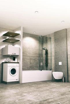 Modern Bathroom Interior Design  3D Illustration