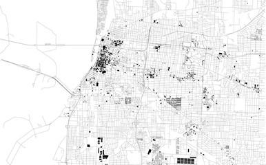Mappa satellitare di Memphis, Tennessee, Usa, strade della città. Stradario e mappa del centro città