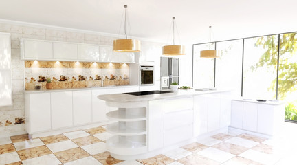 Beautiful Modern Spacious Kitchen Interior Scene. White walls, white Cabinets, Marble effect Orange and White Checker tiles and matching kitchen backsplash