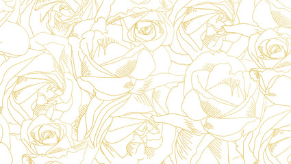 Roses bud outlines. Pattern with flowers in yellow and golden colors. Abstract art, hand-drawn romantic background. Vector illustration, eps10.