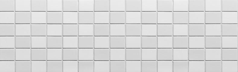 Panorama of white brick wall pattern and background