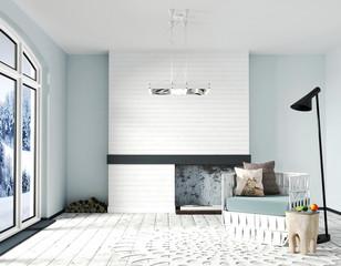 Beautiful Scandinavian Interior Design. White brick accent Fireplace, light blue Walls, white wooden Floor, Black floor lamp and a rattan armchair with pillows