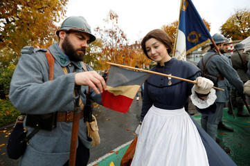 History enthusiasts attend a commemoration ceremony for Armistice Day in Epernay