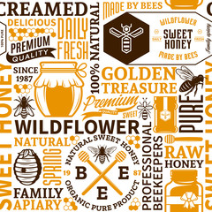 Honey seamless pattern, logo and icons