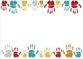 Family handprints vector illustration. Family handprints of mom, dad, child and baby. Social illustration.