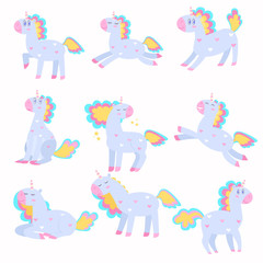 Set of cute unicorns playing, running with a beautiful multi-colored mane.
