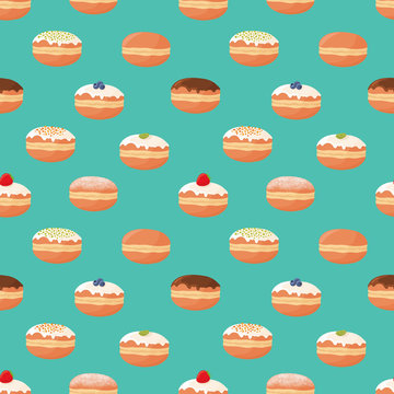 Seamless pattern with different kinds of donuts (doughnuts), powdered sugar topping, chocolate glazing, berry. Vector illustration.