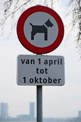 Sign that dogs are not allowed between april 1st and october first at beach of Zevenhuizerplas.