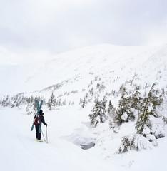 Alpine touring skier in winter mountains.