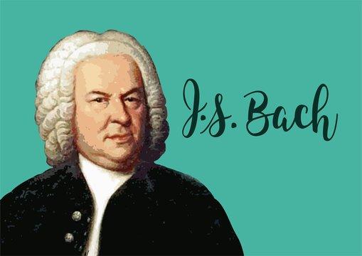 Great composers - Johann Sebastian Bach portrait with vector signature