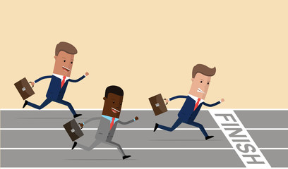 Businessmen running to finish on running track, business goal concept. Race. Businessmen running down the track. Vector illustration