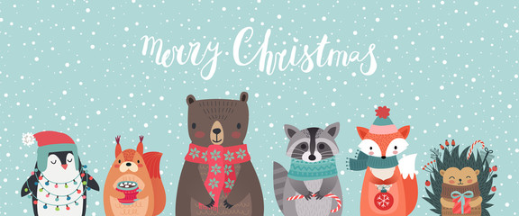 Fototapete - Christmas card with animals, hand drawn style.