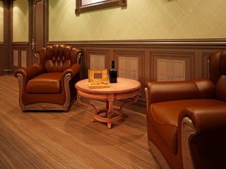 Leather armchairs in a billiard room with a table.
