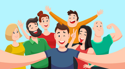 People group selfie. Friendly guy makes group photo with smiling friends on smartphone camera in hands vector cartoon illustration