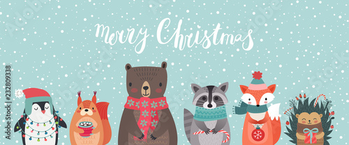 Wall mural Christmas card with animals, hand drawn style.