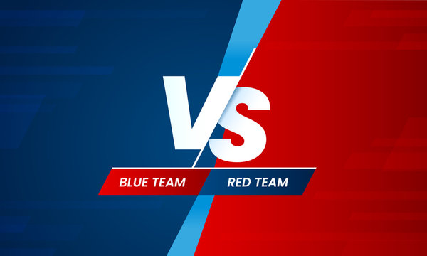 Versus screen. Vs battle headline, conflict duel between Red and Blue teams. Confrontation fight competition vector background template
