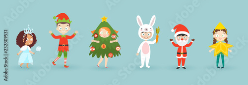 Wall mural Kids wearing Christmas costumes. Funny and cute carnival kids set.