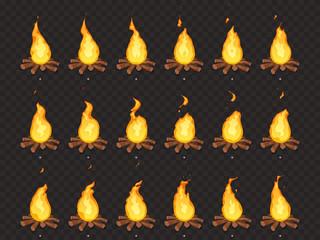 Burning bonfire animation. Hot fire, outdoor campfire and bonfires cartoon vector isolated sprites frames