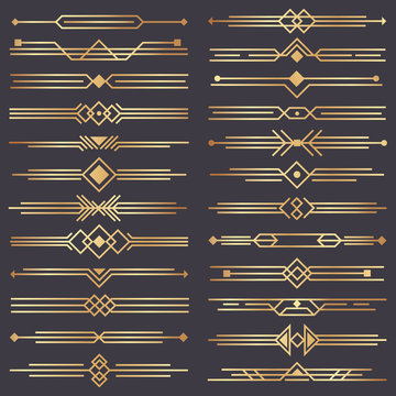 Art deco divider. Gold retro arts border, 1920s decorative ornaments and golden dividers borders vector design set