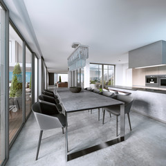 Large modern dining table in contemporary kitchen.
