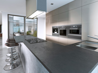 Contemporary kitchen with large windows and island with bar stools.
