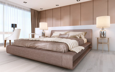 Large bed in modern style with bedside tables and lamps.