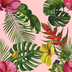 Watercolor tropical wildlife seamless pattern. Hand Drawn jungle nature, lemur, hibiscus flowers illustration