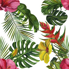 Watercolor tropical wildlife seamless pattern. Hand Drawn jungle nature, lemur, hibiscus flowers illustration