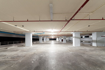 Parking garage interior, industrial building,Empty underground interior in apartment or in supermarket.