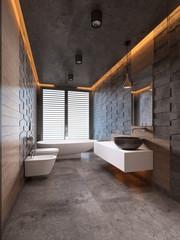 Contemporary bathroom in dark tones with ceiling lighting.