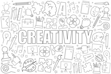 Creativity background from line icon. Linear vector pattern. Vector illustration
