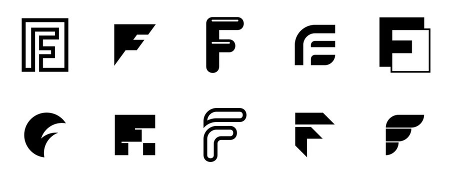 Set of letter F logo. Icon design. Template elements - Collection of vector sign