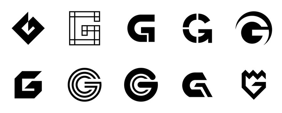 Set of letter G logo Set of letter G logo. Icon design. Template elements - Collection of vector sign